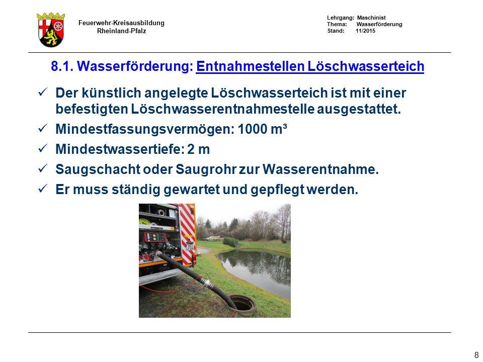 Lehrgang: Maschinist Thema: Wasserförderung Stand: 11/2015 Feuerwehr-Kreisausbildung Rheinland-Pfalz 39 8.4 Wasserförderung: Wasserförderung über lange Wege x x x x x x x x x Standort Verstärkerpumpen Q N = 800 l/min p N = 8 bar Druckleitung B: p R = 1,2 bar / 100 m Druck (bar) x Faktor 10 = Geländehöhe (m)