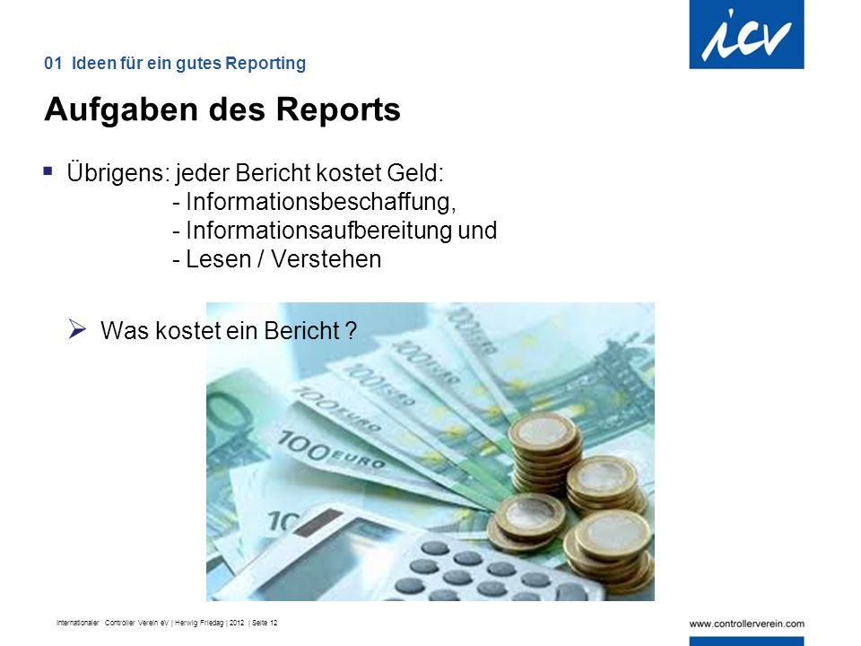 Internationaler Controller Verein eV | Herwig Friedag | 2012 | Seite 12  Übrigens: jeder Bericht kostet Geld: - Informationsbeschaffung, - Informationsaufbereitung und - Lesen / Verstehen  Was kostet ein Bericht .