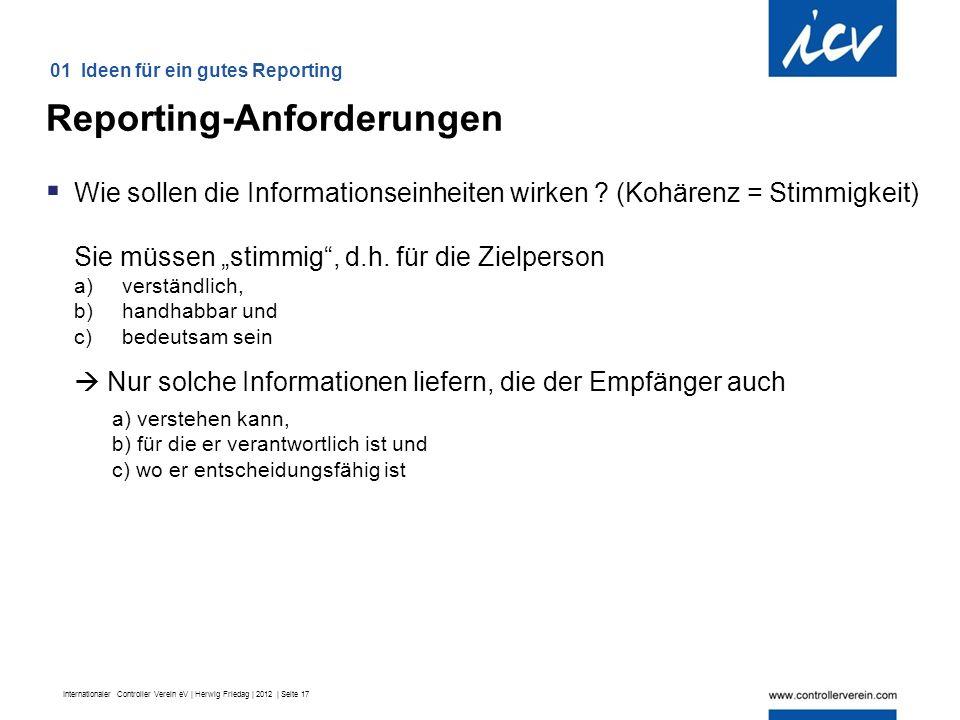 Internationaler Controller Verein eV | Herwig Friedag | 2012 | Seite 17  Wie sollen die Informationseinheiten wirken .