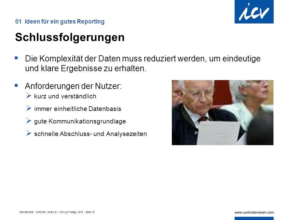 Internationaler Controller Verein eV | Herwig Friedag | 2012 | Seite 18  Die Komplexität der Daten muss reduziert werden, um eindeutige und klare Ergebnisse zu erhalten.