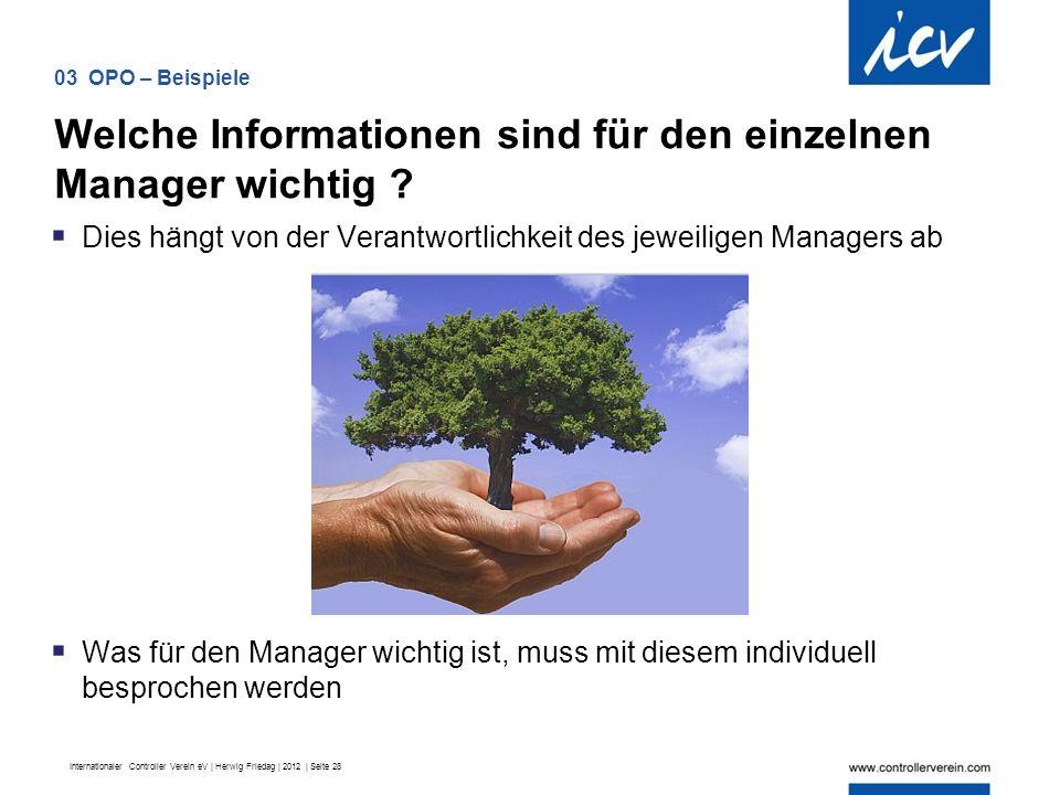 Internationaler Controller Verein eV | Herwig Friedag | 2012 | Seite 28  Dies hängt von der Verantwortlichkeit des jeweiligen Managers ab  Was für den Manager wichtig ist, muss mit diesem individuell besprochen werden Welche Informationen sind für den einzelnen Manager wichtig .