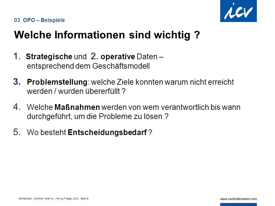 Internationaler Controller Verein eV | Herwig Friedag | 2012 | Seite 30 1.