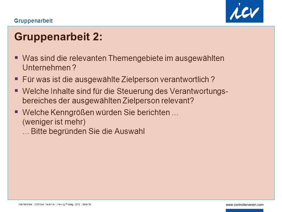 Internationaler Controller Verein eV | Herwig Friedag | 2012 | Seite 39 Gruppenarbeit 2:  Was sind die relevanten Themengebiete im ausgewählten Unternehmen .