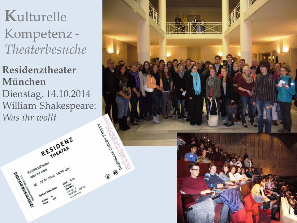 K ulturelle Kompetenz - Theaterbesuche Residenztheater München Dienstag, 14.10.2014 William Shakespeare: Was ihr wollt
