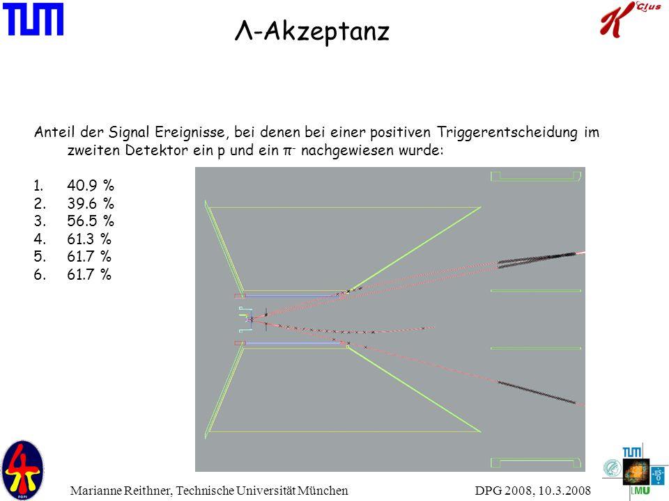 DPG 2008, 10.3.2008 Marianne Reithner, Technische Universität München Λ-Akzeptanz Anteil der Signal Ereignisse, bei denen bei einer positiven Triggere