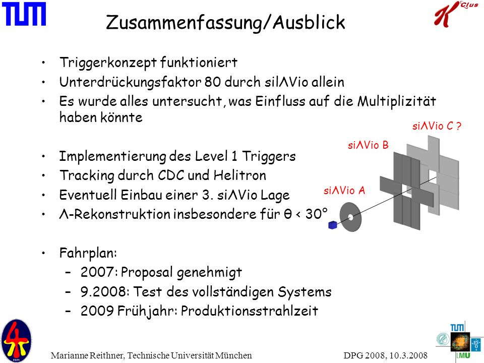 DPG 2008, 10.3.2008 Marianne Reithner, Technische Universität München Zusammenfassung/Ausblick Triggerkonzept funktioniert Unterdrückungsfaktor 80 dur