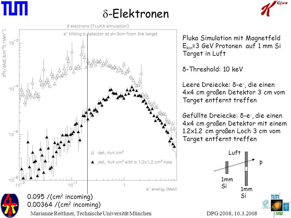 DPG 2008, 10.3.2008 Marianne Reithner, Technische Universität München  -Elektronen Fluka Simulation mit Magnetfeld E kin =3 GeV Protonen auf 1 mm Si