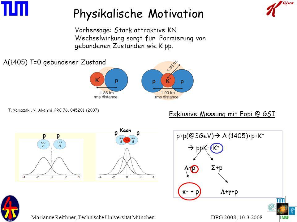 DPG 2008, 10.3.2008 Marianne Reithner, Technische Universität München Physikalische Motivation pp pp Kaon p+p   Λ  (1405)+p+K +  ppK - +K +  +p Σ