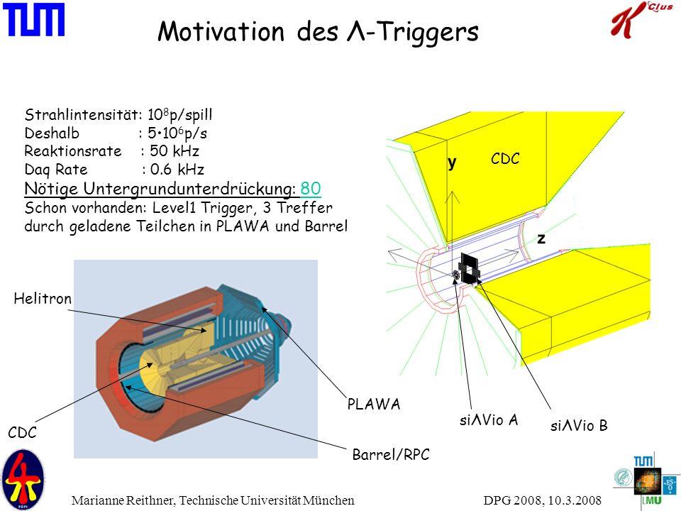 DPG 2008, 10.3.2008 Marianne Reithner, Technische Universität München Motivation des Λ-Triggers Strahlintensität: 10 8 p/spill Deshalb : 510 6 p/s Rea