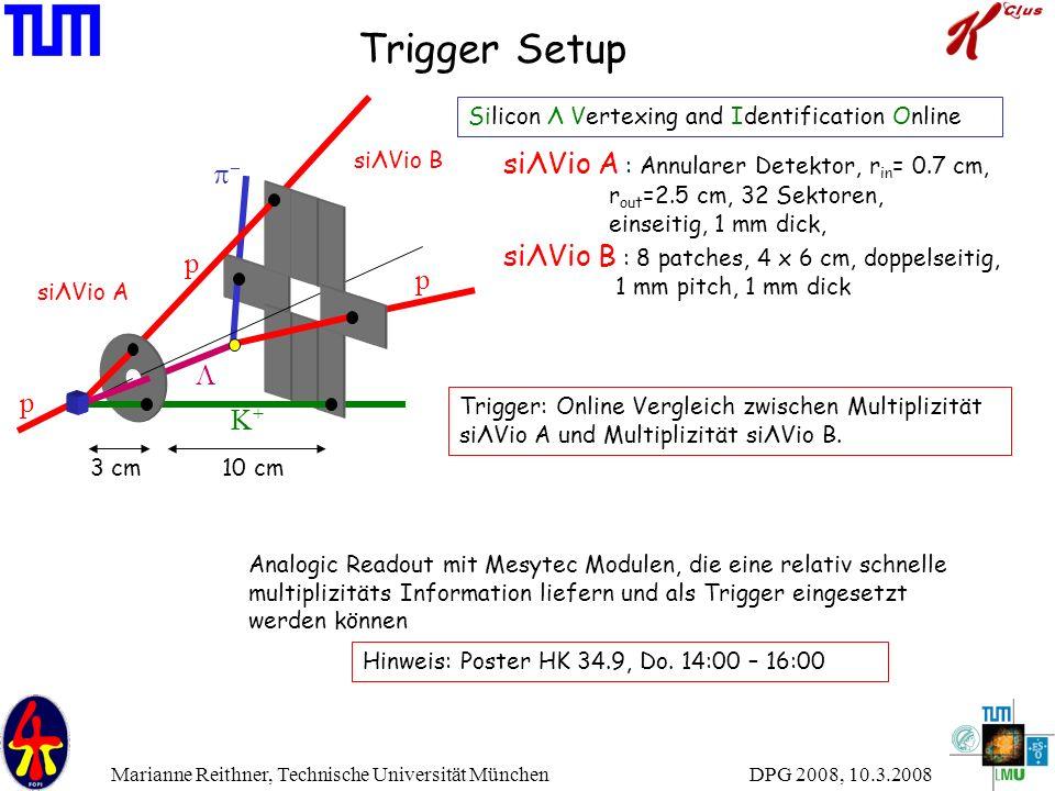 DPG 2008, 10.3.2008 Marianne Reithner, Technische Universität München Trigger Setup siΛVio A : Annularer Detektor, r in = 0.7 cm, r out =2.5 cm, 32 Se