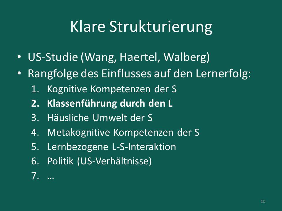 Klare Strukturierung US-Studie (Wang, Haertel, Walberg) Rangfolge des Einflusses auf den Lernerfolg: 1.Kognitive Kompetenzen der S 2.Klassenführung du