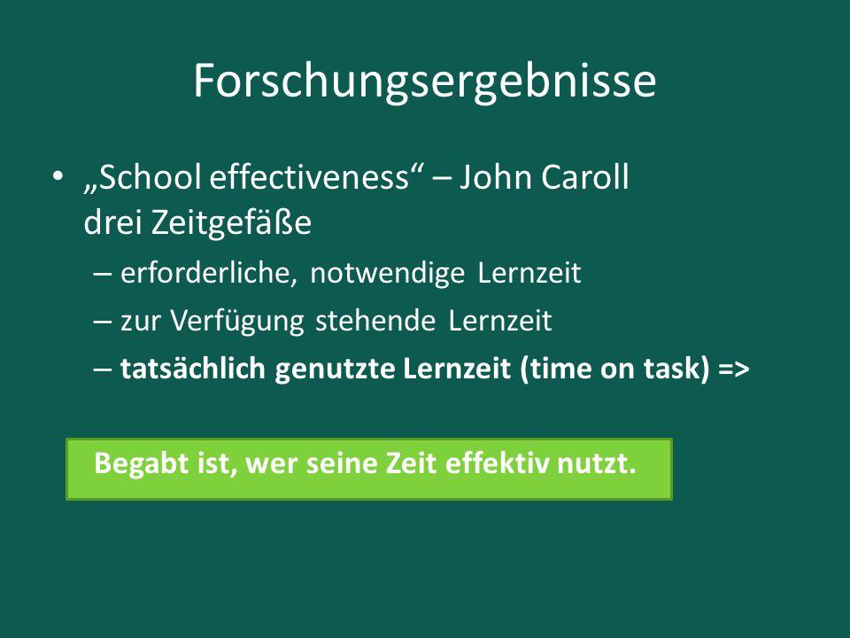 """Forschungsergebnisse """"School effectiveness"""" – John Caroll drei Zeitgefäße – erforderliche, notwendige Lernzeit – zur Verfügung stehende Lernzeit – tat"""