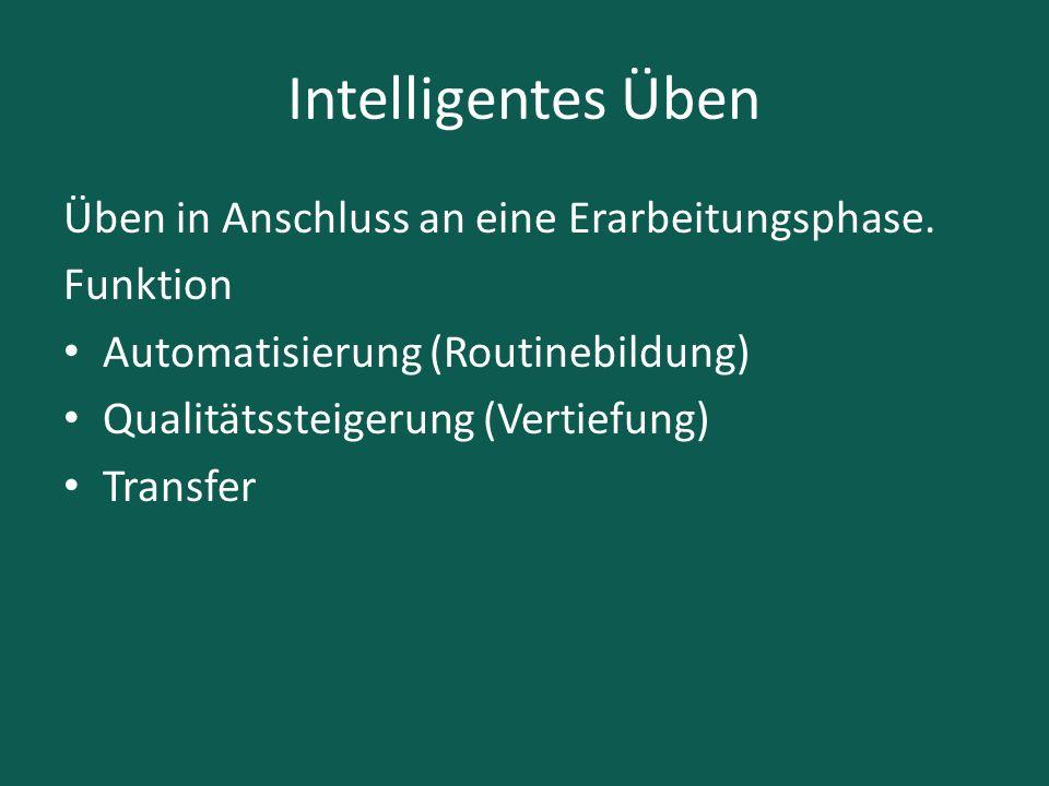 Intelligentes Üben Üben in Anschluss an eine Erarbeitungsphase. Funktion Automatisierung (Routinebildung) Qualitätssteigerung (Vertiefung) Transfer