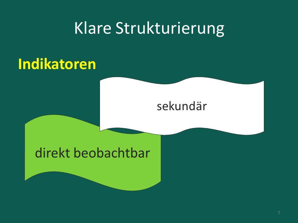 Klare Strukturierung Indikatoren direkt beobachtbar sekundär 7