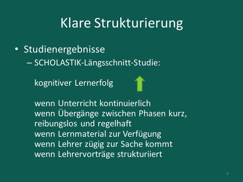 Klare Strukturierung US-Studie (Wang, Haertel, Walberg) Rangfolge des Einflusses auf den Lernerfolg: 1.Kognitive Kompetenzen der S 2.Klassenführung durch den L 3.Häusliche Umwelt der S 4.Metakognitive Kompetenzen der S 5.Lernbezogene L-S-Interaktion 6.Politik (US-Verhältnisse) 7.… 10