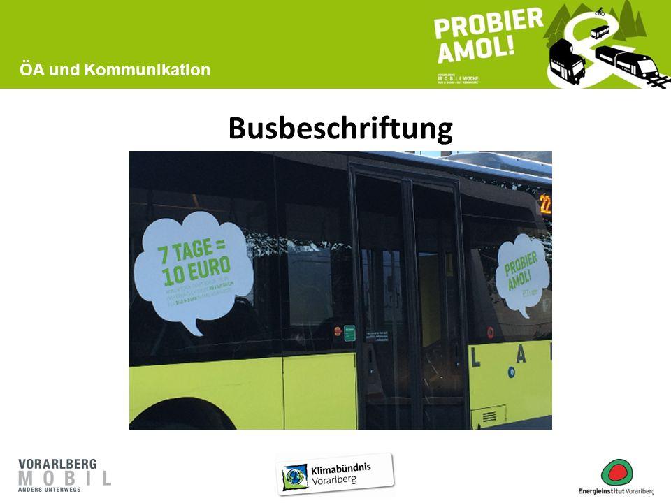 Busbeschriftung ÖA und Kommunikation