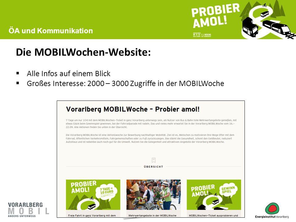 Die MOBILWochen-Website:  Alle Infos auf einem Blick  Großes Interesse: 2000 – 3000 Zugriffe in der MOBILWoche ÖA und Kommunikation