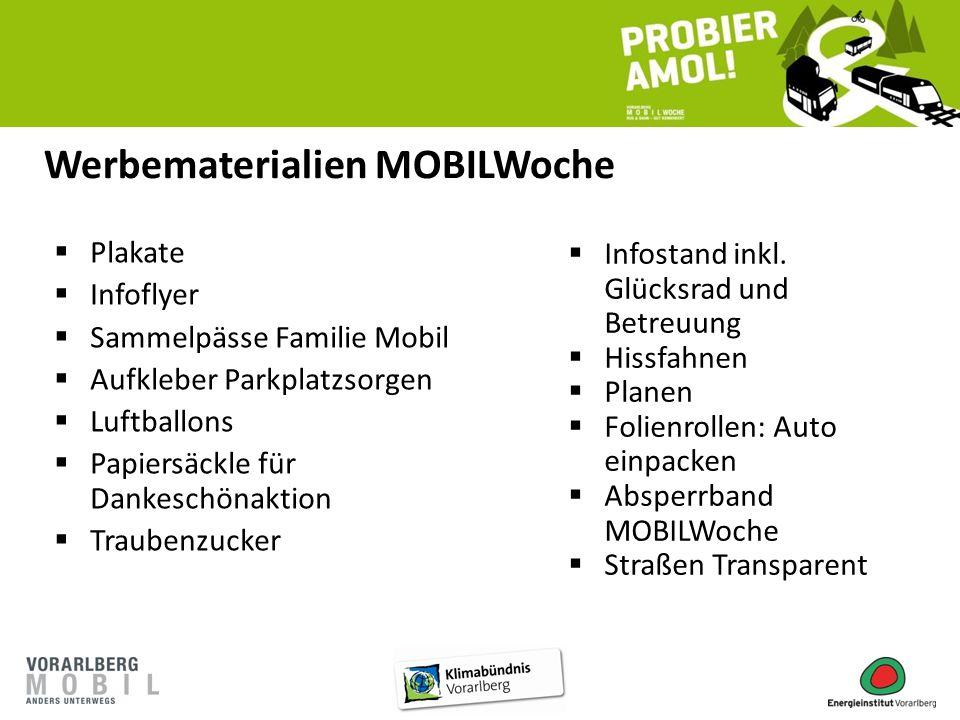  Plakate  Infoflyer  Sammelpässe Familie Mobil  Aufkleber Parkplatzsorgen  Luftballons  Papiersäckle für Dankeschönaktion  Traubenzucker  Info