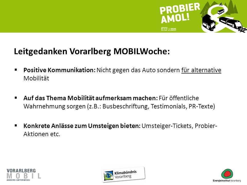 Leitgedanken Vorarlberg MOBILWoche:  Positive Kommunikation: Nicht gegen das Auto sondern für alternative Mobilität  Auf das Thema Mobilität aufmerk