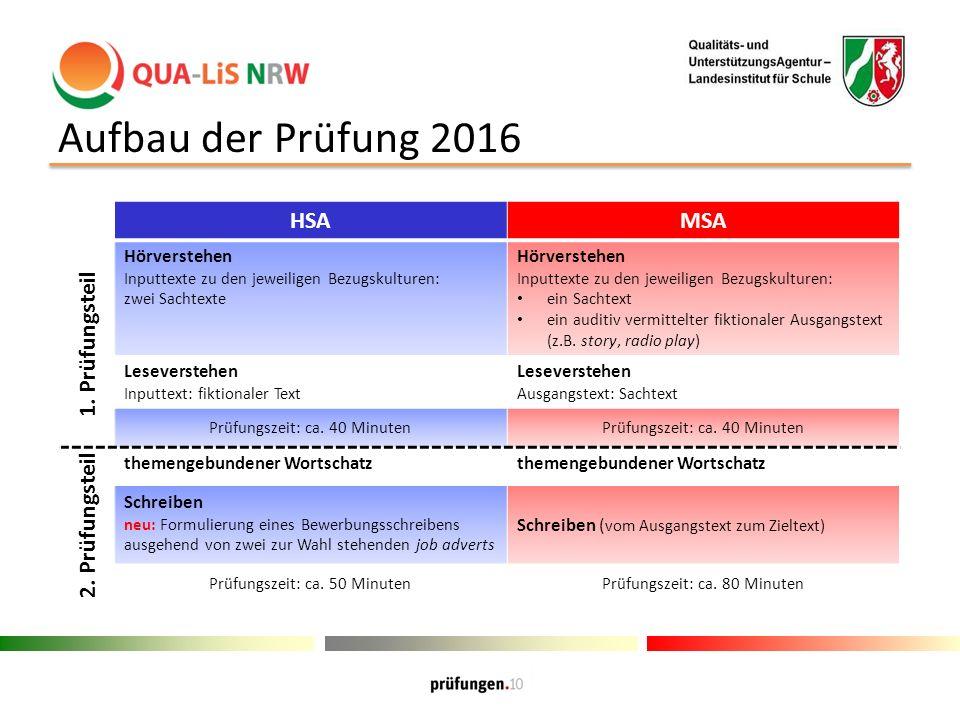 Aufbau der Prüfung 2016 HSAMSA 1.