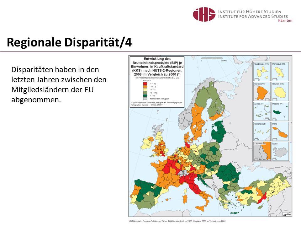 Regionale Disparität/4 Disparitäten haben in den letzten Jahren zwischen den Mitgliedsländern der EU abgenommen.