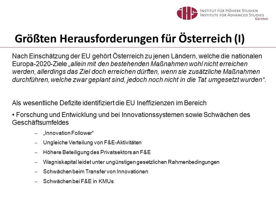 """Größten Herausforderungen für Österreich (I) Nach Einschätzung der EU gehört Österreich zu jenen Ländern, welche die nationalen Europa-2020-Ziele """"all"""