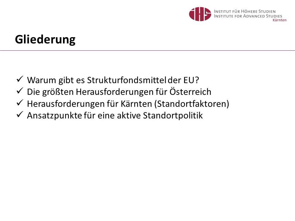 Gliederung Warum gibt es Strukturfondsmittel der EU? Die größten Herausforderungen für Österreich Herausforderungen für Kärnten (Standortfaktoren) Ans