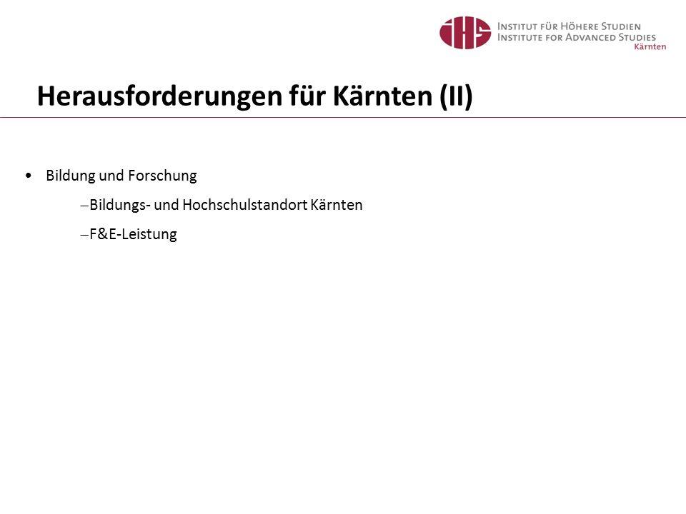Herausforderungen für Kärnten (II) Bildung und Forschung  Bildungs- und Hochschulstandort Kärnten  F&E-Leistung