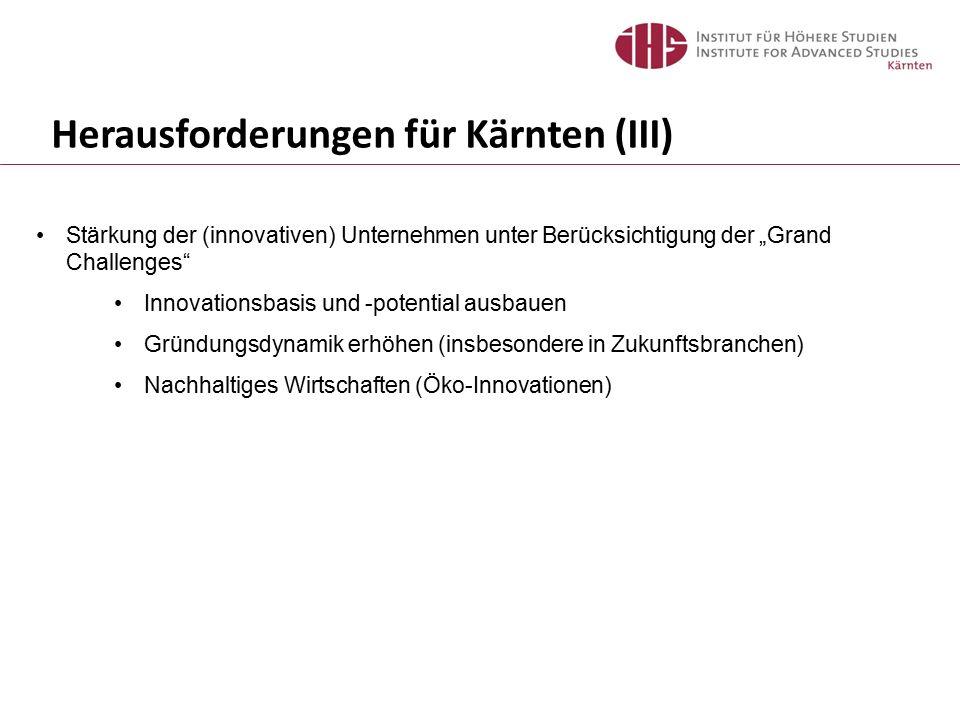 """Herausforderungen für Kärnten (III) Stärkung der (innovativen) Unternehmen unter Berücksichtigung der """"Grand Challenges Innovationsbasis und -potential ausbauen Gründungsdynamik erhöhen (insbesondere in Zukunftsbranchen) Nachhaltiges Wirtschaften (Öko-Innovationen)"""