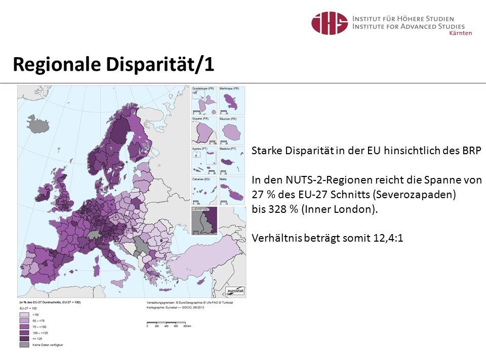 Regionale Disparität/2 Wien: 165 Salzburg: 146 Vorarlberg: 135 Tirol: 132 Oberösterreich: 126 Steiermark: 110 Kärnten: 107 Niederösterreich: 105 Burgenland: 87 (1) Die Grafik zeigt für jedes Land die Spannweite zwischen der Region mit dem höchsten und der Region mit dem niedrigsten Wert; die schwarze vertikale Linie markiert den Durchschnitt (Mittelwert) und der grüne Kreis markiert die Hauptstadt der Region (für Länder, in denen es keine regionale Gliederung gibt, wird der nationale Durchschnitt als Wert für die Hauptstadtregion eingesetzt); auch der Name der Region mit dem höchsten Wert ist angezeigt.
