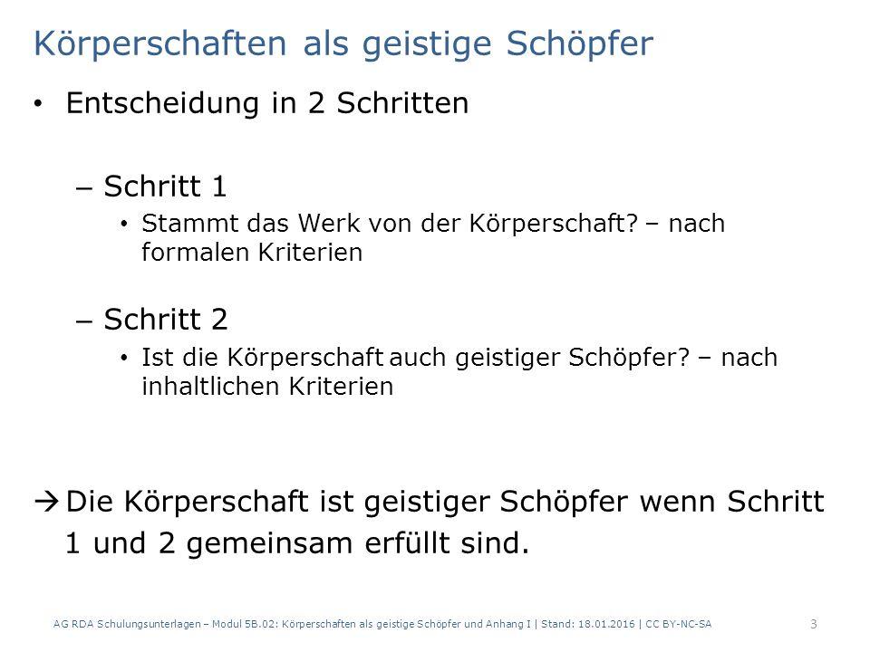 Körperschaften als geistige Schöpfer b) Kollektives Gedankengut der KS – Haltung oder Meinung der KS z.