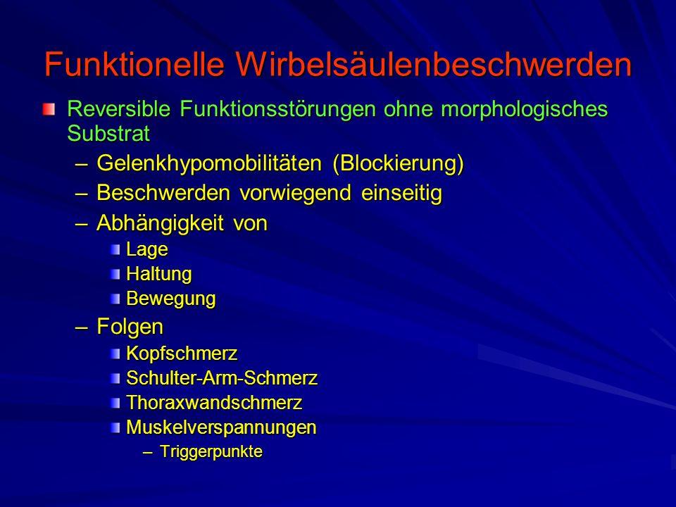 Funktionelle Wirbelsäulenbeschwerden Reversible Funktionsstörungen ohne morphologisches Substrat –Gelenkhypomobilitäten (Blockierung) –Beschwerden vor