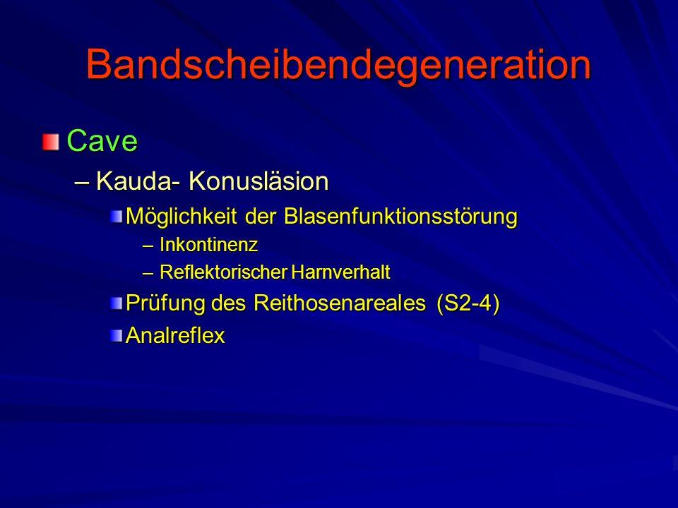 Bandscheibendegeneration Cave –Kauda- Konusläsion Möglichkeit der Blasenfunktionsstörung –Inkontinenz –Reflektorischer Harnverhalt Prüfung des Reithos