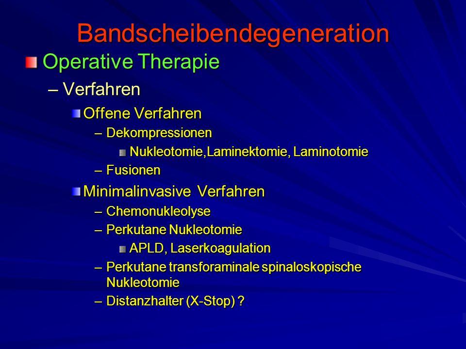 Bandscheibendegeneration Operative Therapie –Verfahren Offene Verfahren –Dekompressionen Nukleotomie,Laminektomie, Laminotomie –Fusionen Minimalinvasi