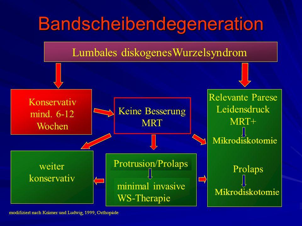 Konservativ mind. 6-12 Wochen Lumbales diskogenesWurzelsyndrom Keine Besserung MRT Protrusion/Prolaps minimal invasive WS-Therapie weiter konservativ