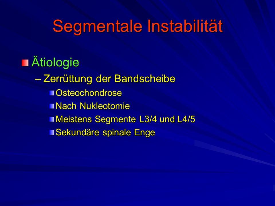Segmentale Instabilität Ätiologie –Zerrüttung der Bandscheibe Osteochondrose Nach Nukleotomie Meistens Segmente L3/4 und L4/5 Sekundäre spinale Enge
