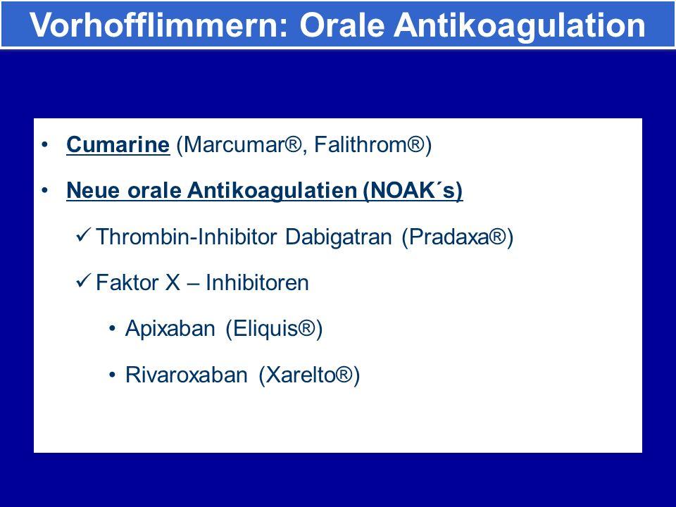 Cumarine (Marcumar®, Falithrom®) Neue orale Antikoagulatien (NOAK´s) Thrombin-Inhibitor Dabigatran (Pradaxa®) Faktor X – Inhibitoren Apixaban (Eliquis®) Rivaroxaban (Xarelto®) Vorhofflimmern: Orale Antikoagulation