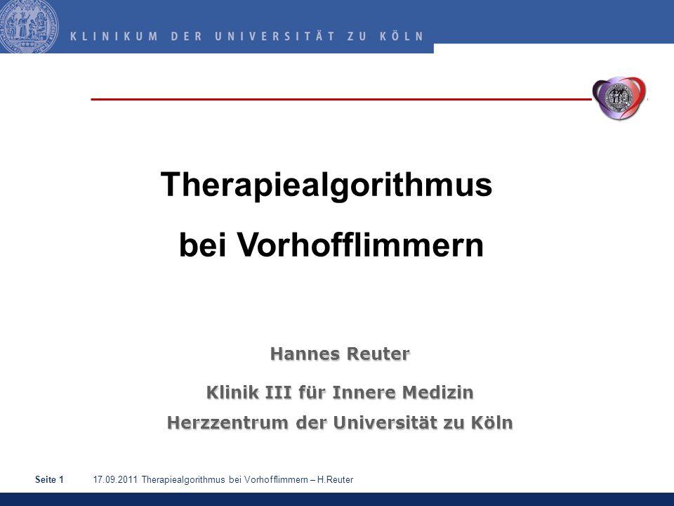 17.09.2011 Therapiealgorithmus bei Vorhofflimmern – H.ReuterSeite 12 Elektrische Kardioversion