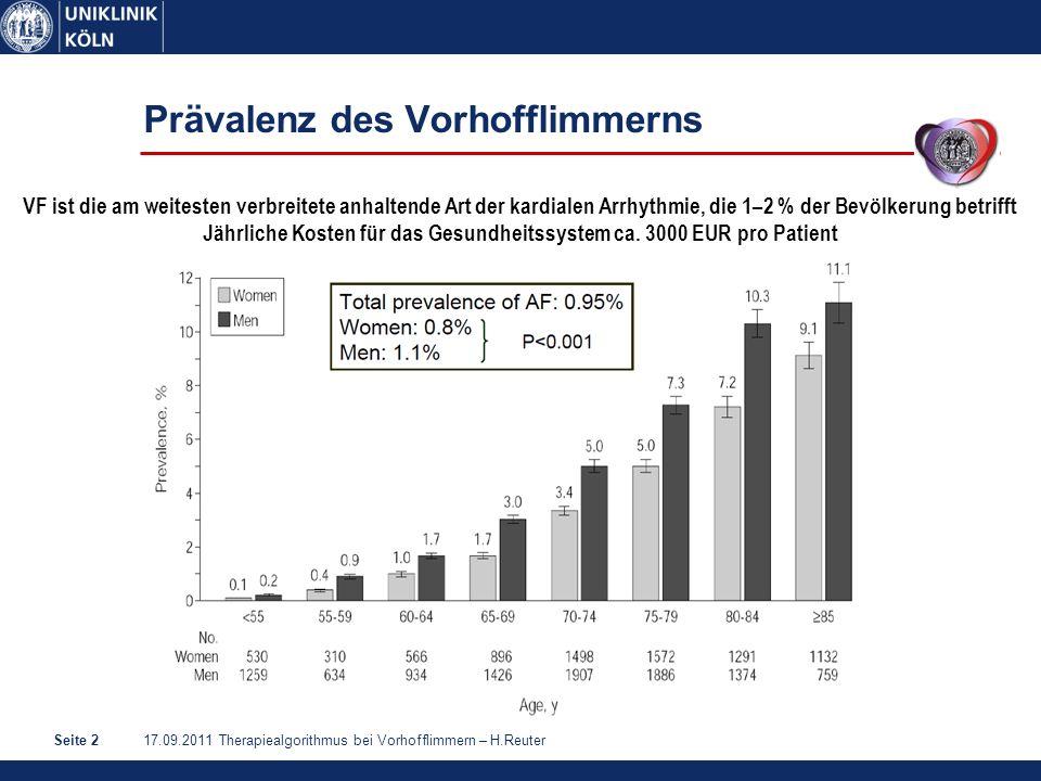 17.09.2011 Therapiealgorithmus bei Vorhofflimmern – H.ReuterSeite 3 Vorhofflimmern – Assoziierte Begleiterkrankungen