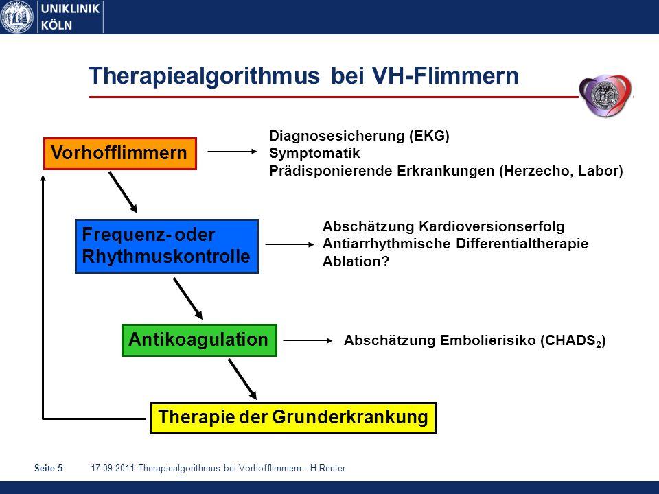 17.09.2011 Therapiealgorithmus bei Vorhofflimmern – H.ReuterSeite 6 Frequenz- oder Rhythmuskontrolle.