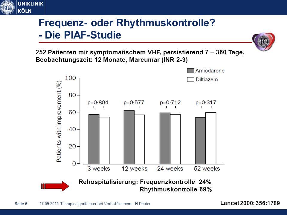 17.09.2011 Therapiealgorithmus bei Vorhofflimmern – H.ReuterSeite 17 Amiodaron: Gute Wirksamkeit auch in der Rezidivprophylaxe Roy et al, NEJM 2000