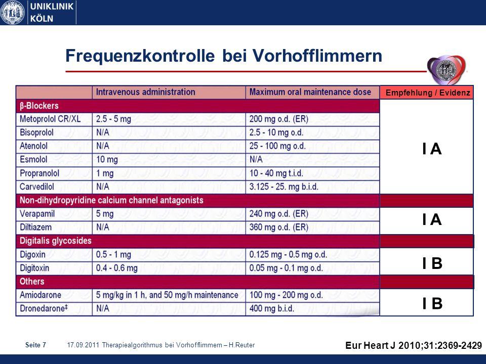17.09.2011 Therapiealgorithmus bei Vorhofflimmern – H.ReuterSeite 8 Optimale Frequenzkontrolle: wie streng.