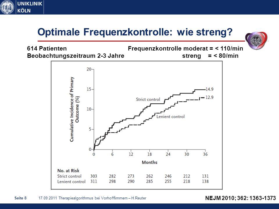 17.09.2011 Therapiealgorithmus bei Vorhofflimmern – H.ReuterSeite 9 Optimale Frequenzkontrolle: wie streng.