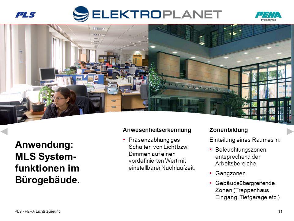 PLS - PEHA Lichtsteuerung11 Anwendung: MLS System- funktionen im Bürogebäude.