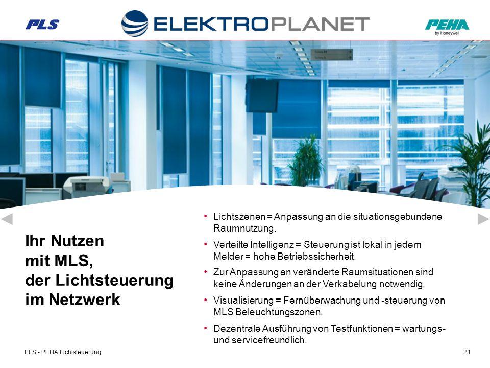 PLS - PEHA Lichtsteuerung21 Lichtszenen = Anpassung an die situationsgebundene Raumnutzung.