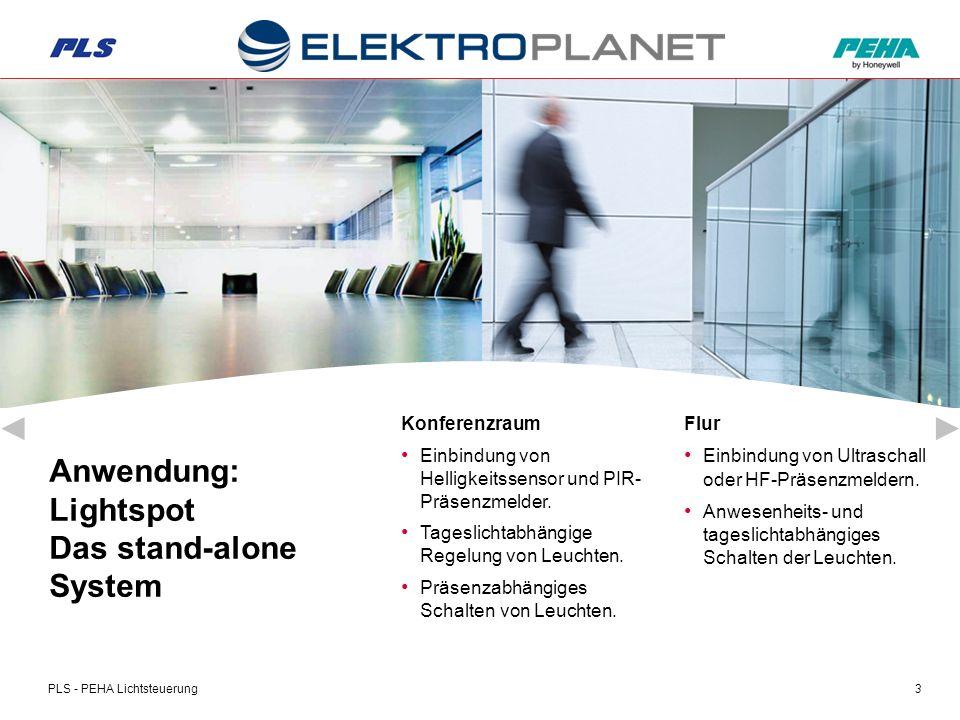 PLS - PEHA Lichtsteuerung4 Büro Einbindung von PIR- Präsenzmeldern.