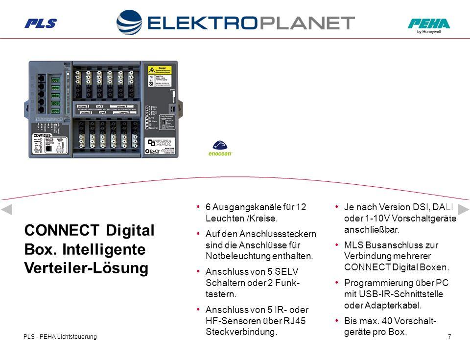 PLS - PEHA Lichtsteuerung18 Ihr Nutzen mit der CONNECT Digital Box Bis 25m lange Gänge und 400m² Fläche mit einem HF- Präsenzmelder = Kostenersparnis durch weniger Geräte = optimaler Einsatz im Zweckbau.