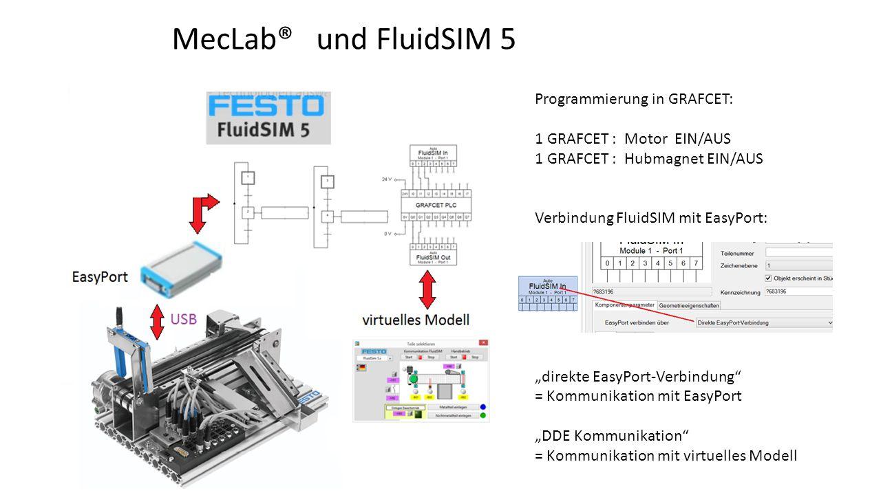 """Programmierung in GRAFCET: 1 GRAFCET : Motor EIN/AUS 1 GRAFCET : Hubmagnet EIN/AUS Verbindung FluidSIM mit EasyPort: """"direkte EasyPort-Verbindung"""" = K"""
