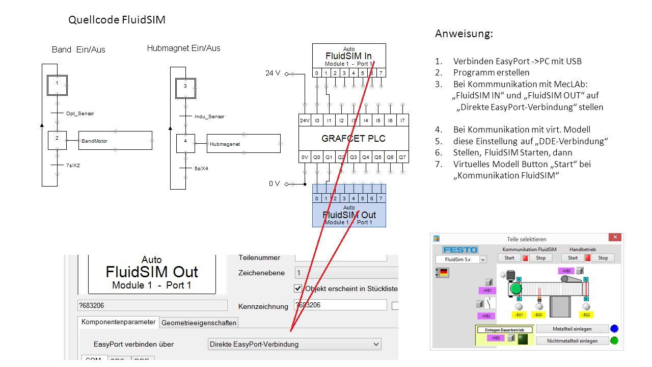 """Quellcode FluidSIM Anweisung: 1.Verbinden EasyPort ->PC mit USB 2.Programm erstellen 3.Bei Kommmunikation mit MecLAb: """"FluidSIM IN"""" und """"FluidSIM OUT"""""""