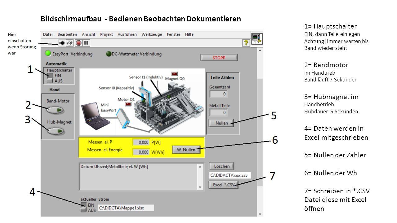 """Logik der Steuerung Zählen der Teile Grafischer Quellcode -> in LabVIEW heißt dies """"Diagramm"""